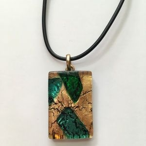 Jewelry - Gold and Green fused Murano Glass Pendant
